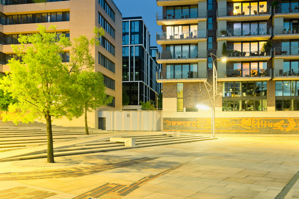 Germany, Hamburg, Hafencity, modern architecture in the evening